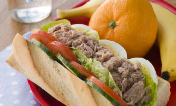 Tuna Egg and Salad Baguette with Fresh Fruit
